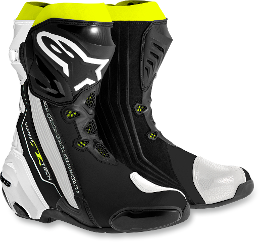 Mens Alpinestars Supertech R Textile Black White Yellow Motorcycle Racing Boots