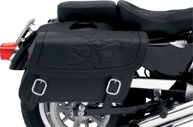 Saddlemen large black flame highwayman tattoo zip off saddlebag Honda Victory