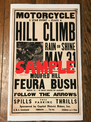 Vintage 1940's copy Indian  Motorcycle hill climb Feura Bush Ny poster 14 x 22