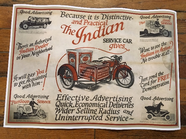 "Vintage Replica Poster The Indian Service Car Chuck Myles Cardstock 24""x 17"""