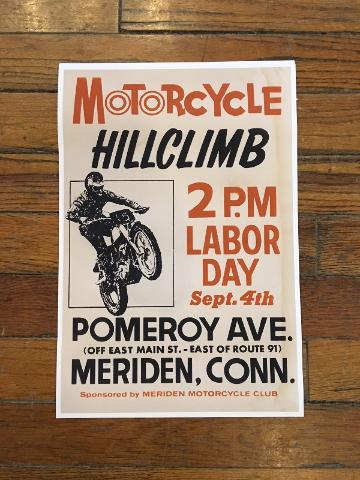 "Vintage replica Labor Day Meriden Conn Hill Climb Cardstock 13"" x 19"" Poster"