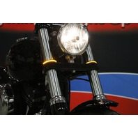 Custom Dynamics LED Fork Wrap Arounds Turn Signals Black Clear Amber 86-15 Harley