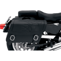 Saddlemen jumbo black flame highwayman tattoo zip off saddlebag Honda Victory