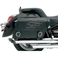 Saddlemen Black Silver Flame Leather Universal Motorcycle Saddlebags Harley FXST