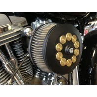 JT's Cycles Custom Air Cleaner Cover Powder Coat Black .50 Cal Bullets Harley