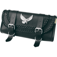 Willie & Max Braided Eagle Black Leather Universal Motorcycle Tool Pouch Harley