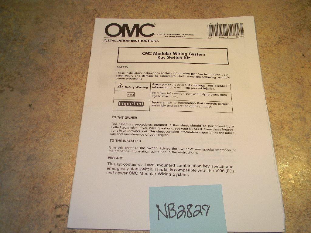 Omc Modular Wiring System Key Switch Kit Installation Manual