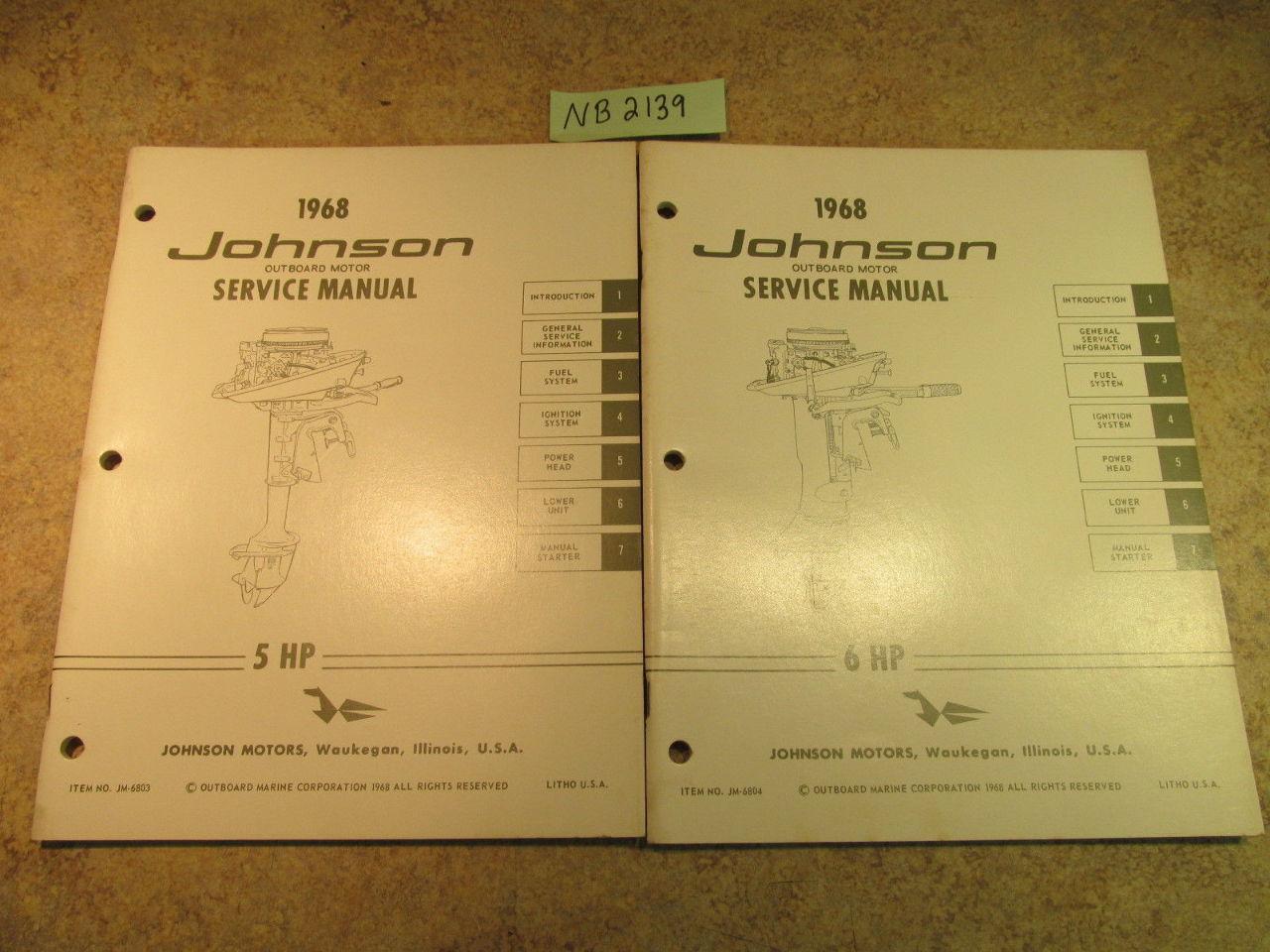 ... 1968 Johnson Evinrude Outboard Service Manual Year Set 1.5-100 HP ...