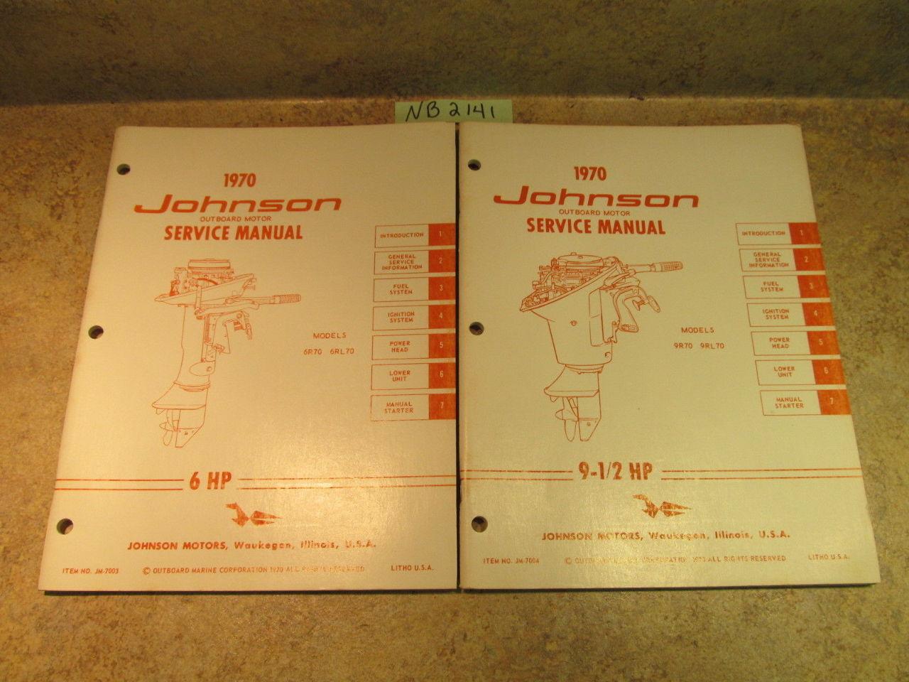 ... 1970 Johnson Evinrude Outboard Service Manual Year Set 1.5- 115 HP ...