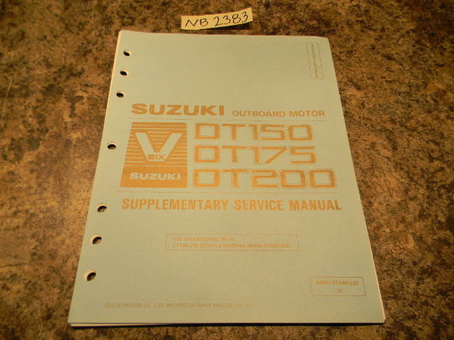 1990 suzuki dt 150 175 200 supplementary service manual rh southcentraloutboards com Suzuki DT150 Decals suzuki dt 150 owners manual