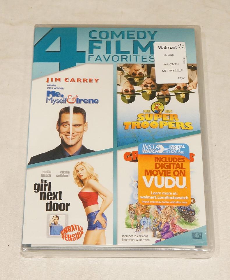 4 COMEDY FILM FAVORITES: ME MYSELF & IRENE SUPER TROOPERS GIRL NEXT DOOR DVD SET