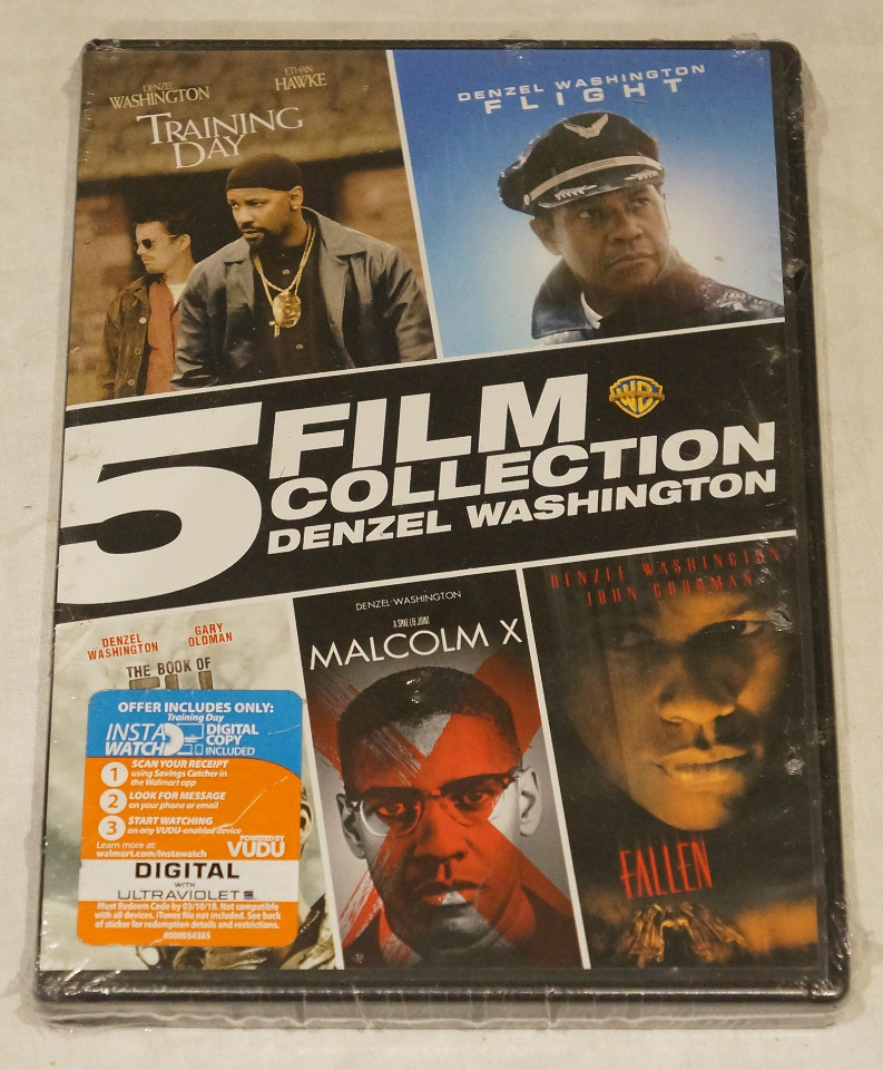 5 FILM COLLECTION DENZEL WASHINGTON TRAINING DAY FLIGHT ELI MALCOLM X FALLEN DVD