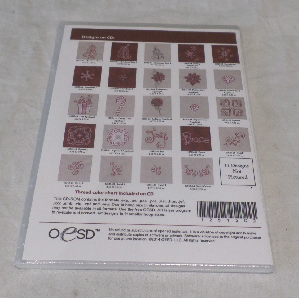 OESD EMBROIDERY SOFTWARE DESIGNS, SEASONAL STITCHERY 12515 12515CD