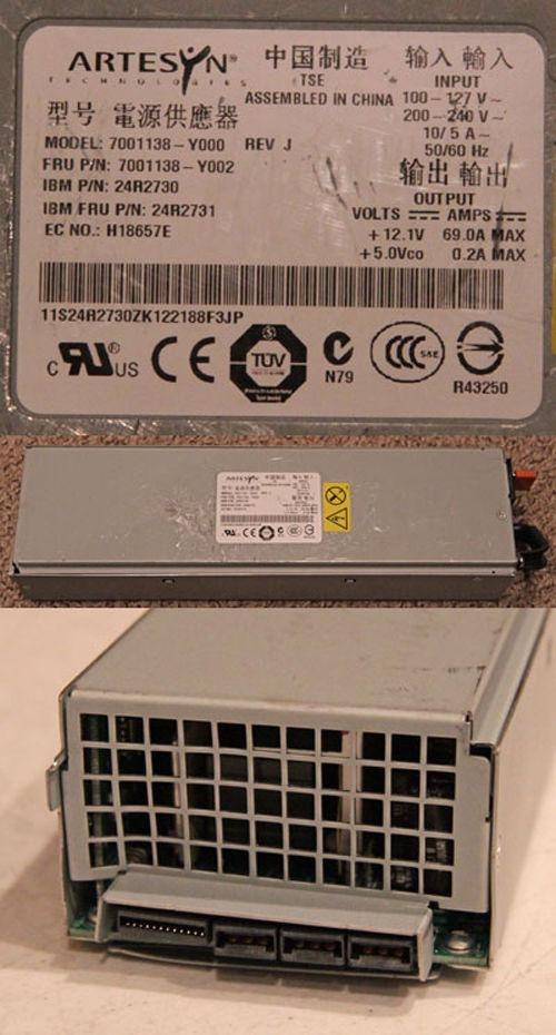 IBM ARTESYN POWER SUPPLY 7001138-Y000 REV J  200-240V 24R2730 24R2731