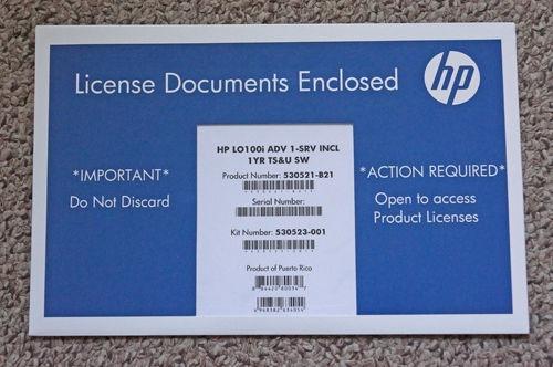 HP LO100I ADVANCED LIGHTS OUT 1-SERVER INCL 1-YEAR TS&U LICENSE 530521-B21