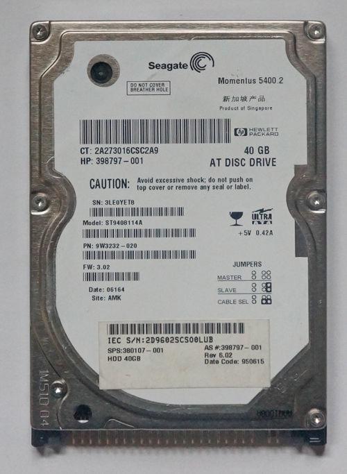SEAGATE MOMENTUS 54002 ST94813A 40GB 5400 RPM IDE 25 HARD DRIVE HP 395285 001