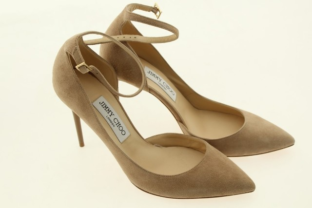 96d230bb7a3 JIMMY CHOO 024130 LUCY 100 SUEDE ANKLE STRAP PUMPS NUDE -SIZE 8.5 ...