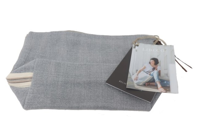 LIBECO 129916 ASH LINEN CORSE COSMETIC BAG - 13X7.5IN