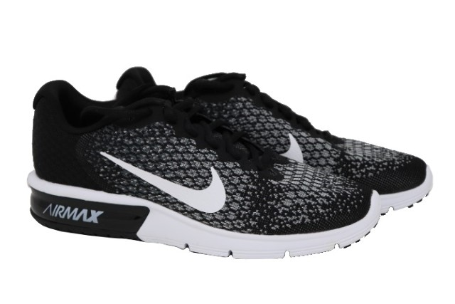 205634f6474 NIKE AIR MAX SEQUENT 2 852465002 WOMENS BLACK WHITE RUNNING SHOES SZ ...