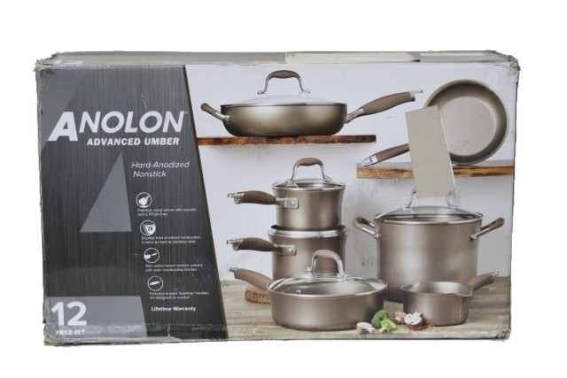 ANOLON ADVANCED UMBER 12PC HARD-ANODIZED NONSTICK COOKWARE 84476