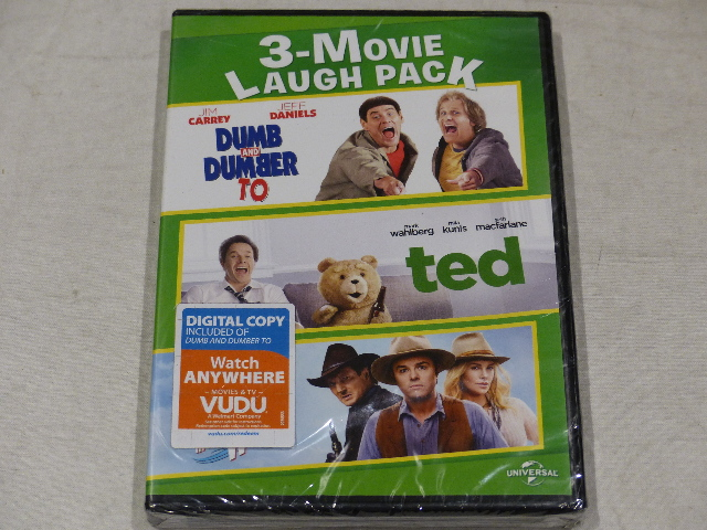 3-MOVIE LAUGH DVD NEW DUMB AND DUMBER TO, TED, A MILLION WAYS TO DIE IN THE  WEST