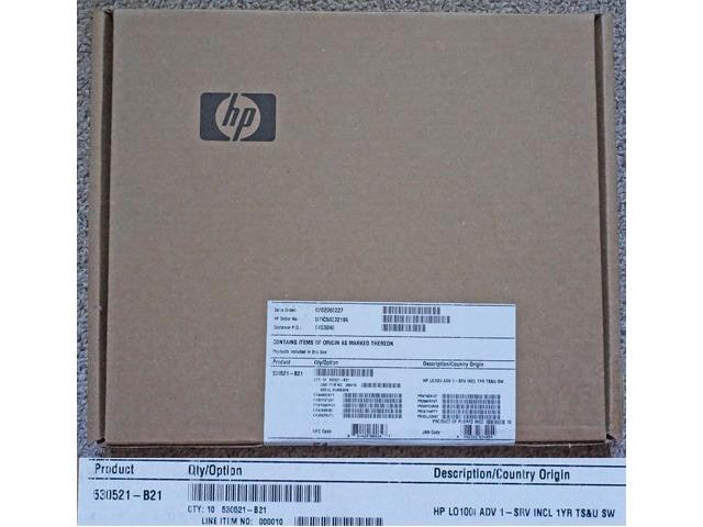 HP 10-PACK LICENSES LO100I ADVANCED LIGHTS-OUT 1 SERVER 1 YEAR TS&U 530521-B21