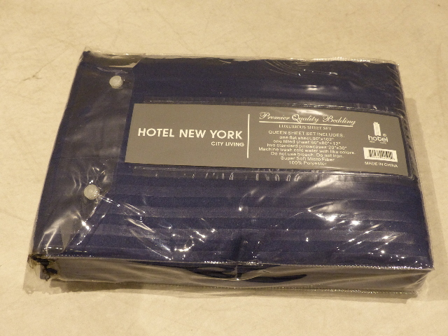 HOTEL NEW YORK 4 PIECE SHEET SET QUEEN NAVY BLUE HOTEL