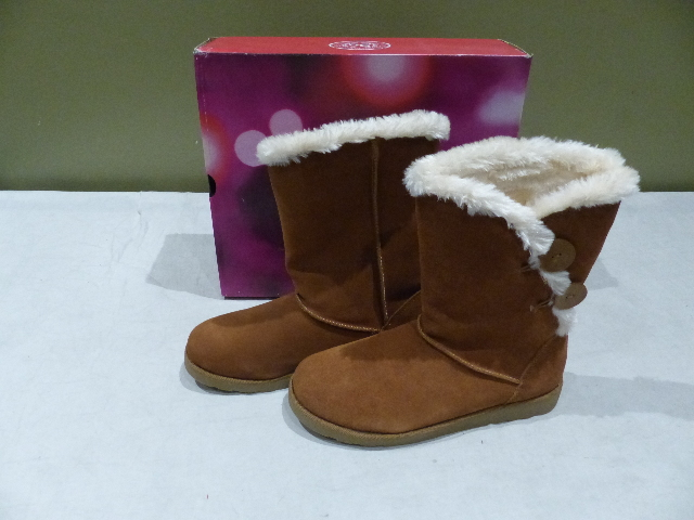 SO AUTHENTIC AMERICAN HERITAGE IMAGE WOMENS SUEDE CHESNUT MID-CALF BOOTS 9.5