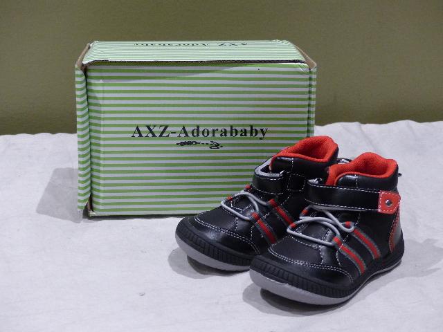 AXZ-ADORABABY CB7012 41569503  BLACK HI-TOP SNEAKERS TODDLER 7