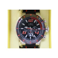 INVICTA 20105 MENS S1 RALLY CHRONO BLACK & RED POLYURETHANE BLACK DIAL AND CASE