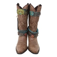 DURANGO CRUSH ACCESSORIZED WESTERN BOOT WOMENS SIZE 8 M BROWN DCRD 145