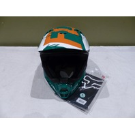 FOX V1 VANDAL GREEN/ORANGE RACING HELMET YOUTH SIZE L LARGE 51-52cm 11948-147-L