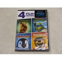 4 FILM FAVORITES ANIMAL ESCAPADES DVD NEW SCOOBY-DOO, TURTLES, HAPPY FEET, YOGI