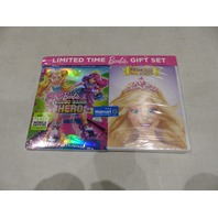 BARBIE VIDEO GAME HERO BLU-RAY+DVD  HD/BARBIE PRINCESS CHARM SCHOOL DVD