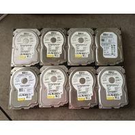 LOT OF 8* WESTERN DIGITAL 80GB WD800JD-75MSA3 7200 RPM SATA HARD DISC DRIVES