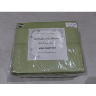HEM STITCH COLLECTION 4 PIECE SHEET SET KING GREEN 98506 81-0082-8