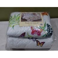 BEDSPREAD QUEEN WHITE/BUTTERFLY 103112 47457