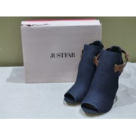 JUSTFAB RIKA HEELED STRAPPED OPEN TOE DENIM ANKLE BOOT SANDALS 9.5WW