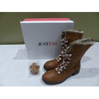 JUSTFAB FREEHA BS1618427-2640-29085 COGNAC WINTER BOOTS 8.5
