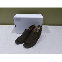 SONOMA LISBETH OLIVE WOMENS HEELS SZ 8.5 WIDE ADJUSTABLE FIT ANKLE BOOTS
