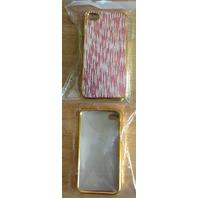 IPHONE HARD CASE GOLD TRIM WHITE PINK DESIGN 4/4S