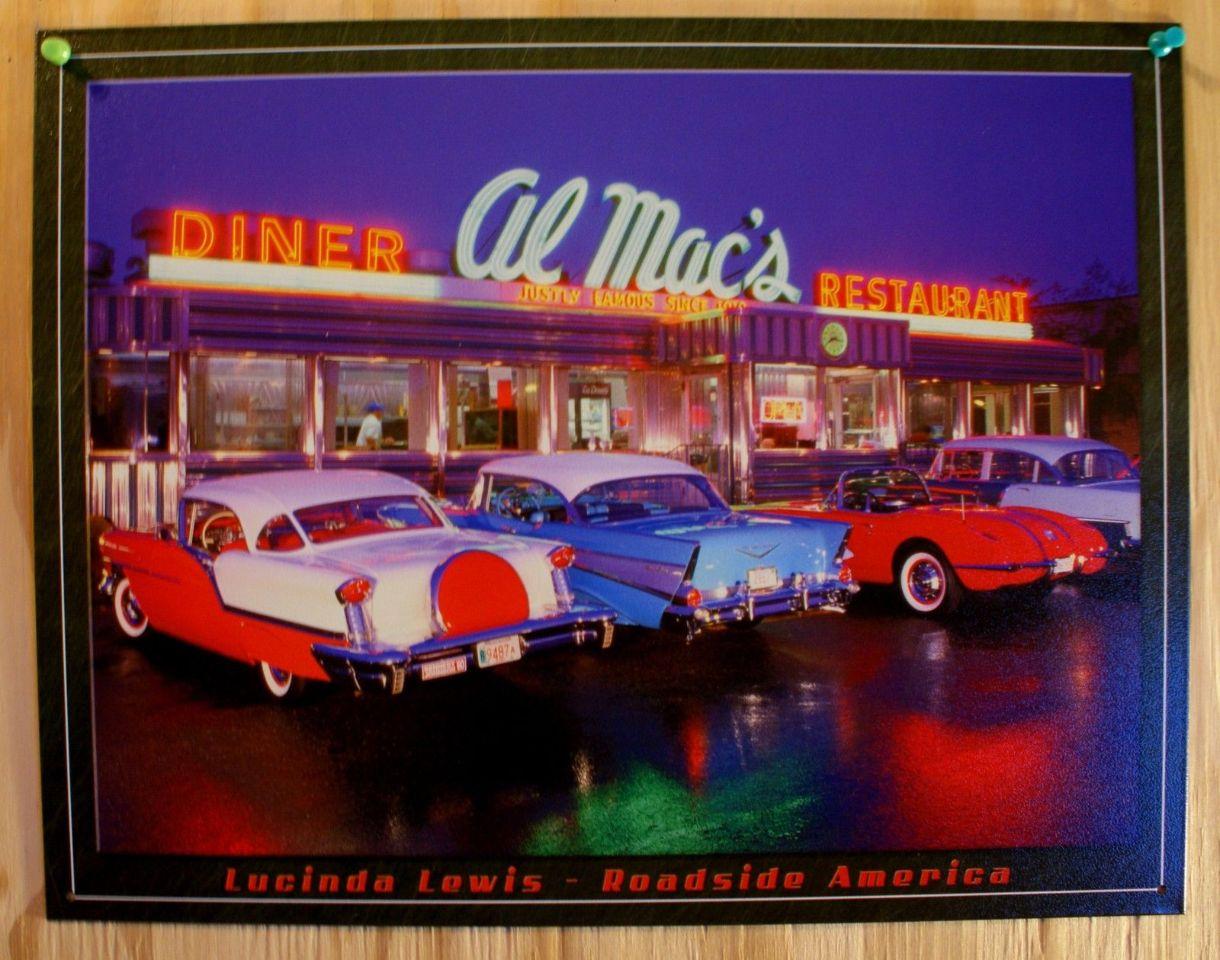Al Macs Diner Resturant Tin Sign Classic Chevy Ford Cars Garage Man Cave