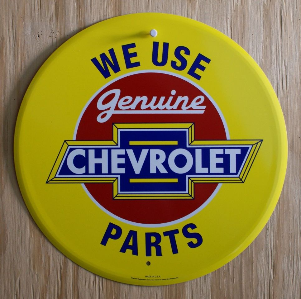 We Use Genuine Chevrolet Parts Tin Metal Round Sign Chevy Camaro SS RS Z28 E9