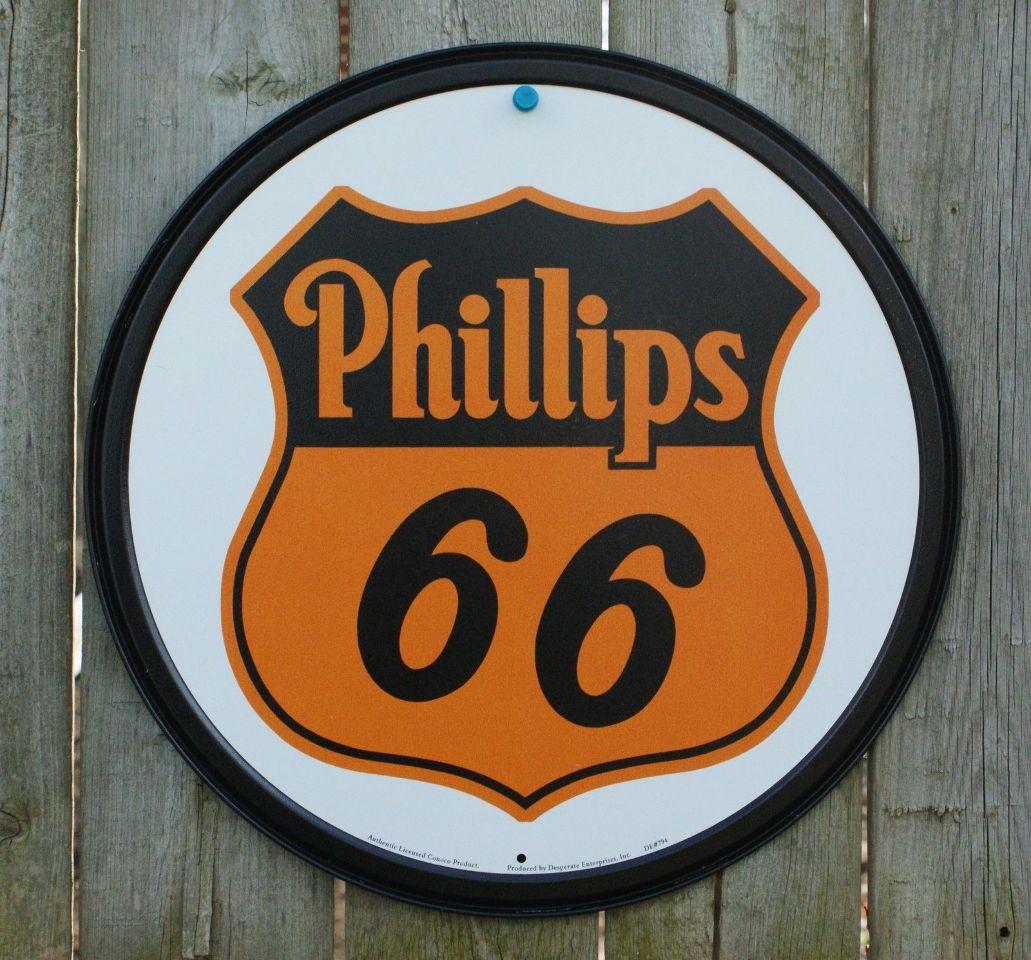 Phillips Conoco 66 Tin Round Sign Man Cave Garage Gas Oil Gasoline filling