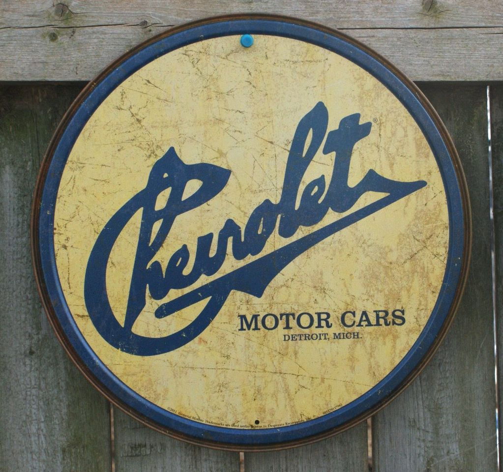 Chevrolet Tin Round Sign Man Cave Garage Chevy Corvette Motor Classic Logo
