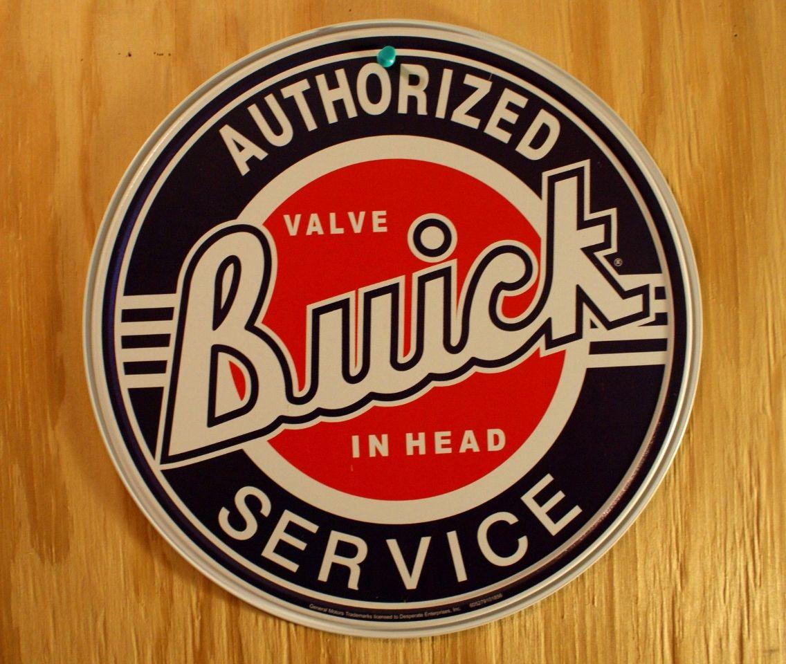 Buick Authorized Service Tin Round Sign Valve Mechanic Garage Skylark V8