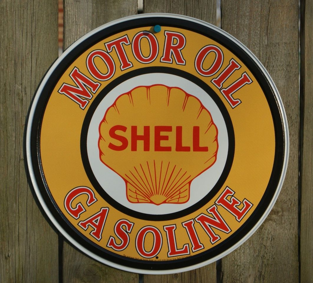 Shell Motor Oil Round Tin Metal Vintage Style Sign Garage Gas Classic Logo
