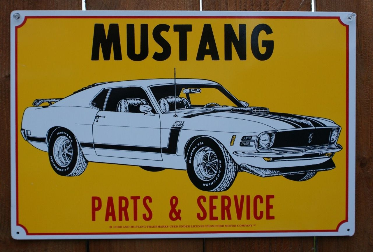 Ford mustang parts service tin sign boss 302 v8 cobra gt pony muscle car c52