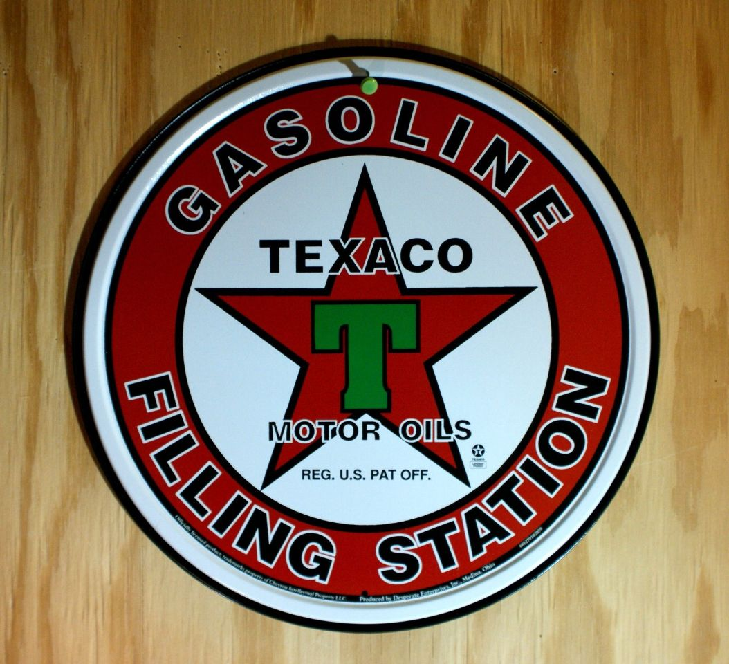 Texaco Gasoline Filling Station Tin Round Sign Motor Oil
