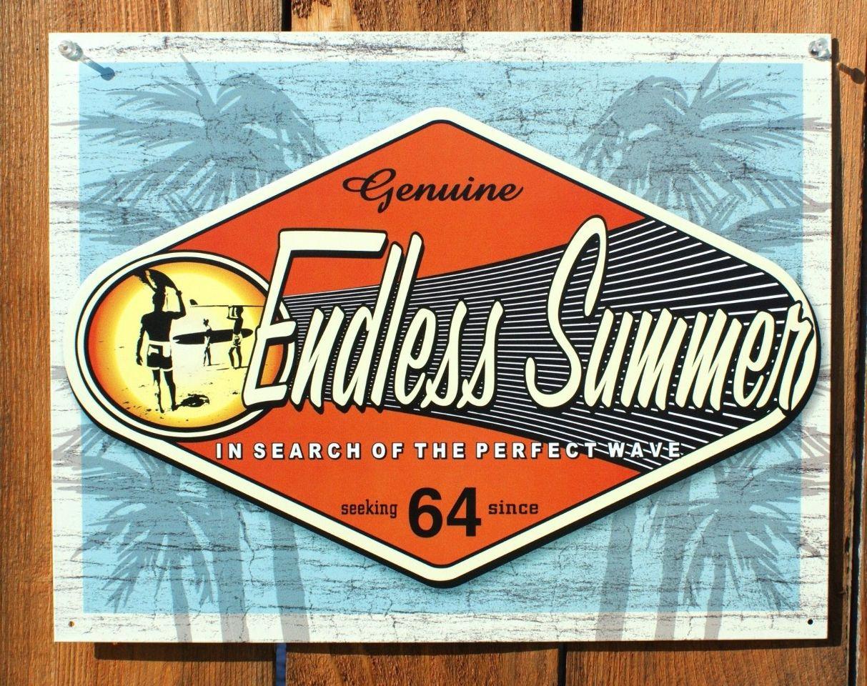 Endless Summer Tin Sign Classic Movie Surfing Surf Board Beach California E106